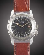 A GENTLEMAN'S STAINLESS STEEL GLYCINE AIRMAN PILOTS WRIST WATCH CIRCA 1955 Movement: 23J, automatic,