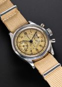 "A RARE GENTLEMAN'S STAINLESS STEEL BREITLING ANTIMAGNETIC WATERPROOF ""CLAMSHELL"" CHRONOGRAPH WRIST"