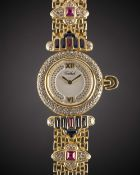 A LADIES 18K SOLID GOLD, DIAMOND, SAPPHIRE & RUBY TABBAH BERET BRACELET WATCH CIRCA 1990s, WITH