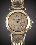 A GENTLEMAN'S SIZE 18K SOLID GOLD CARTIER PASHA AUTOMATIC WRIST WATCH CIRCA 1990s, REF. 1989