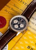 A GENTLEMAN'S 18K SOLID WHITE GOLD BREITLING CHRONOMETRE NAVITIMER CHRONOGRAPH WRIST WATCH DATED
