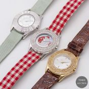 A LOT OF THREE LADIES WATCHES TO INCLUDE TWO 18K SOLID WHITE GOLD & ONE 18K YELLOW GOLD MAUBOUSSIN