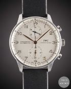 A GENTLEMAN'S STAINLESS STEEL IWC PORTUGUESE AUTOMATIC CHRONOGRAPH WRIST WATCH DATED 2007, REF.