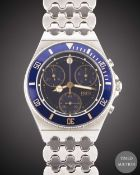 A GENTLEMAN'S STAINLESS STEEL FRED LA TIGRESSE CHRONOGRAPH BRACELET WATCH CIRCA 1990s, WITH BLUE