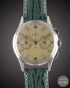 A GENTLEMAN'S STAINLESS STEEL ZENITH EXCELSIOR PARK CHRONOGRAPH WRIST WATCH CIRCA 1950s, WITH IMP.