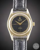 A GENTLEMAN'S GOLD CAPPED UNIVERSAL GENEVE POLEROUTER WRIST WATCH CIRCA 1960, WITH BLACK GILT