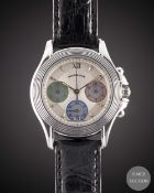 A GENTLEMAN'S SIZE 18K SOLID WHITE GOLD MAUBOUSSIN CHRONOGRAPH WRIST WATCH CIRCA 1990s, REF. R.14370