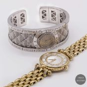 A LOT OF TWO LADIES WATCHES TO INCLUDE AN 18K SOLID WHITE GOLD & DIAMOND BRACELET WATCH BY