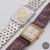 A LOT OF TWO LADIES WATCHES TO INCLUDE AN 18K SOLID YELLOW GOLD ROBERGE WRIST WATCH & AN 18K SOLID