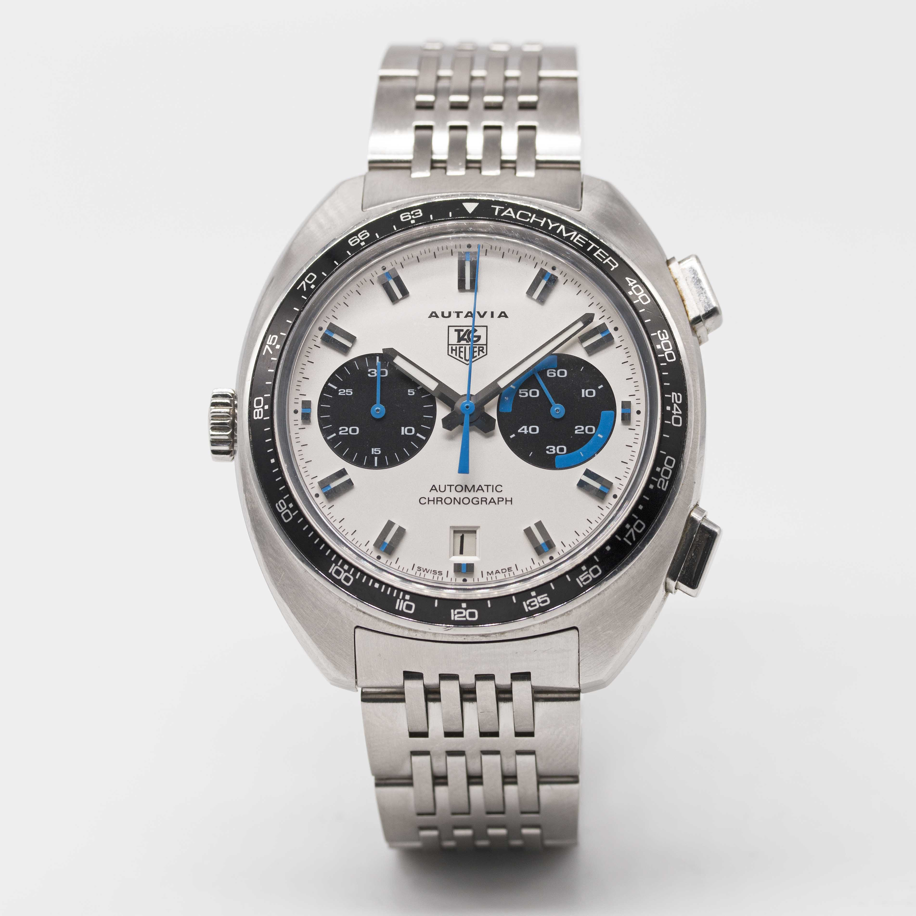 Lot 34 - A GENTLEMAN'S STAINLESS STEEL TAG HEUER AUTAVIA AUTOMATIC CHRONOGRAPH BRACELET WATCH DATED 2003,