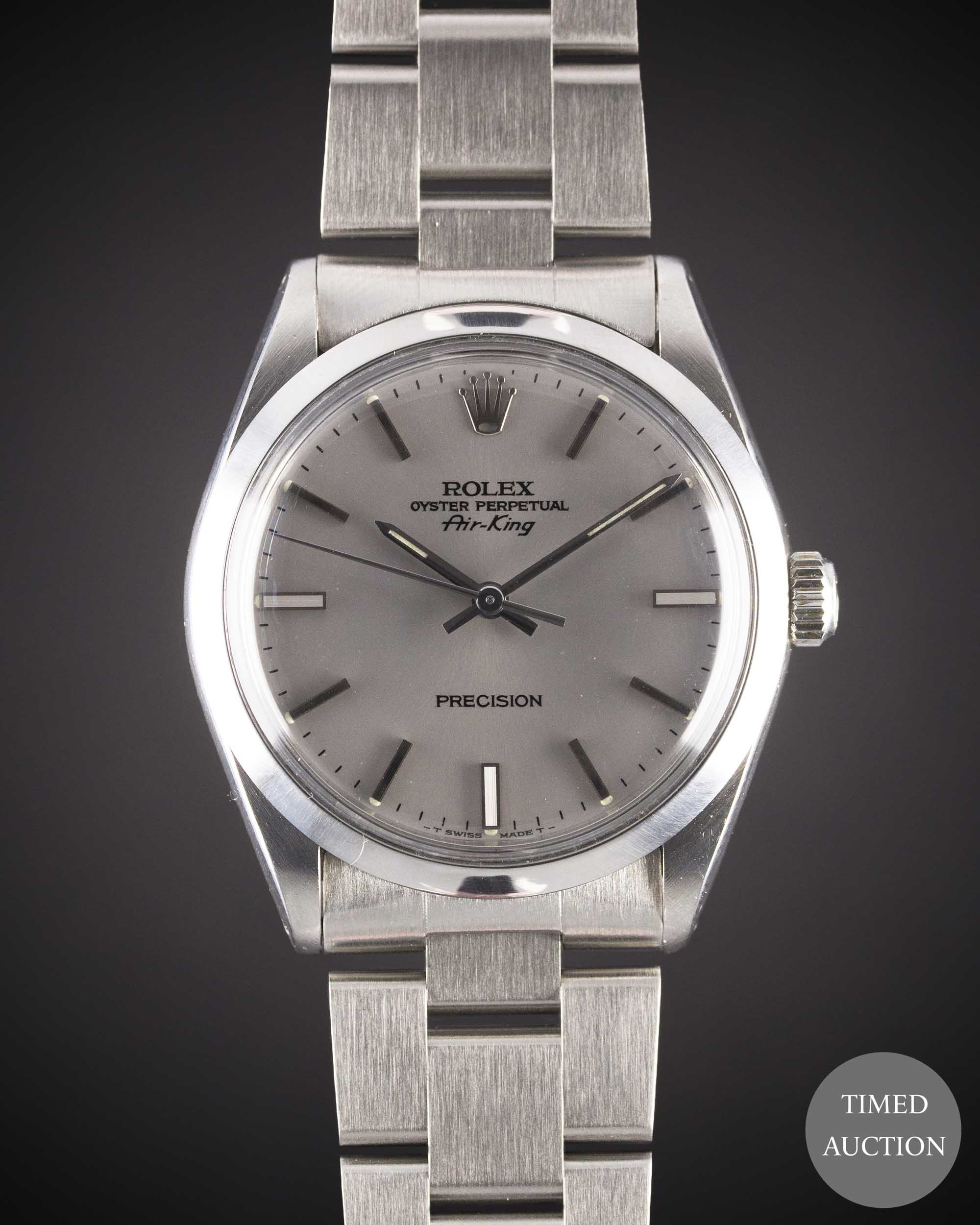 Lot 22 - A GENTLEMAN'S STAINLESS STEEL ROLEX OYSTER PERPETUAL AIR KING BRACELET WATCH CIRCA 1987, REF. 5500 R