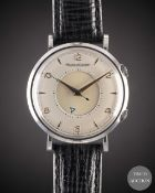 A GENTLEMAN'S STAINLESS STEEL JAEGER LECOULTRE MEMOVOX ALARM WRIST WATCH CIRCA 1960, WITH REFINISHED