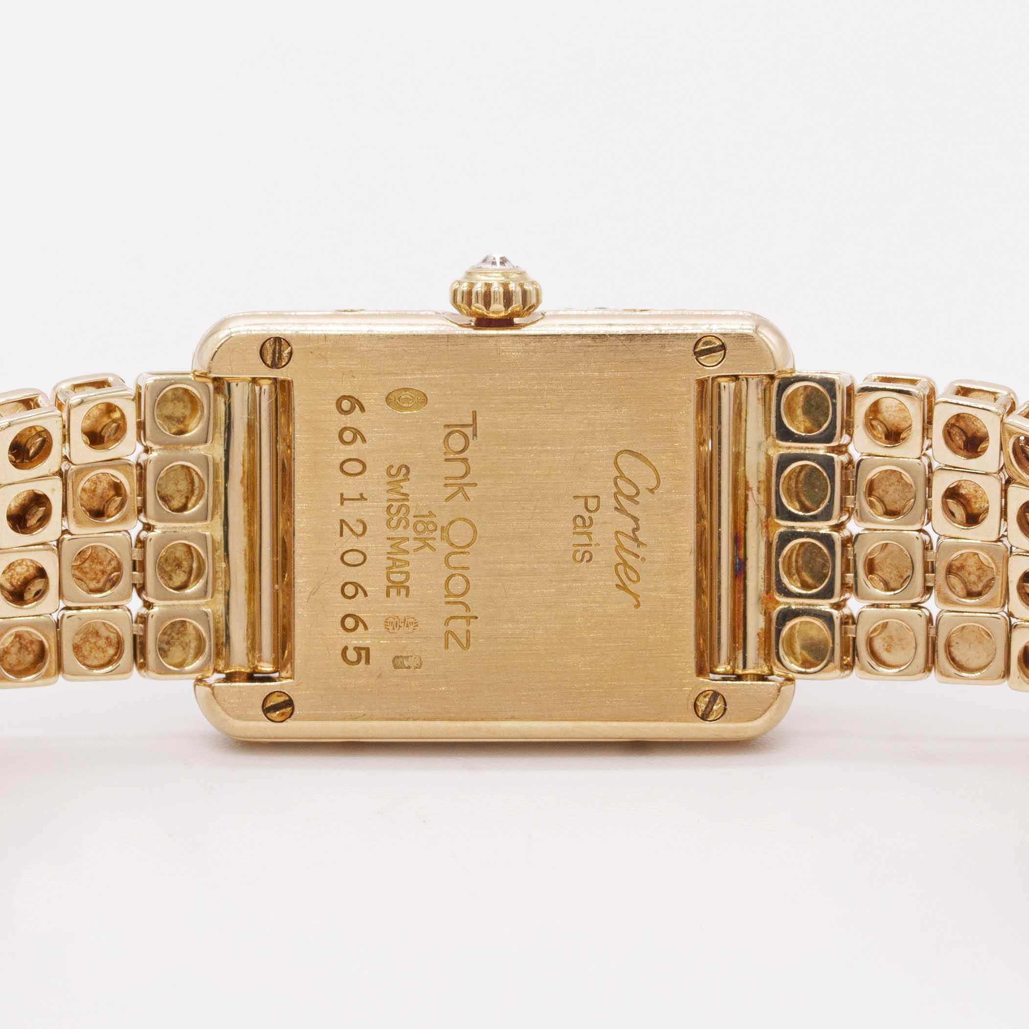 Lot 10 - A LADIES 18K SOLID GOLD CARTIER TANK BRACELET WATCH CIRCA 1990s Movement:Quartz, signed Cartier.