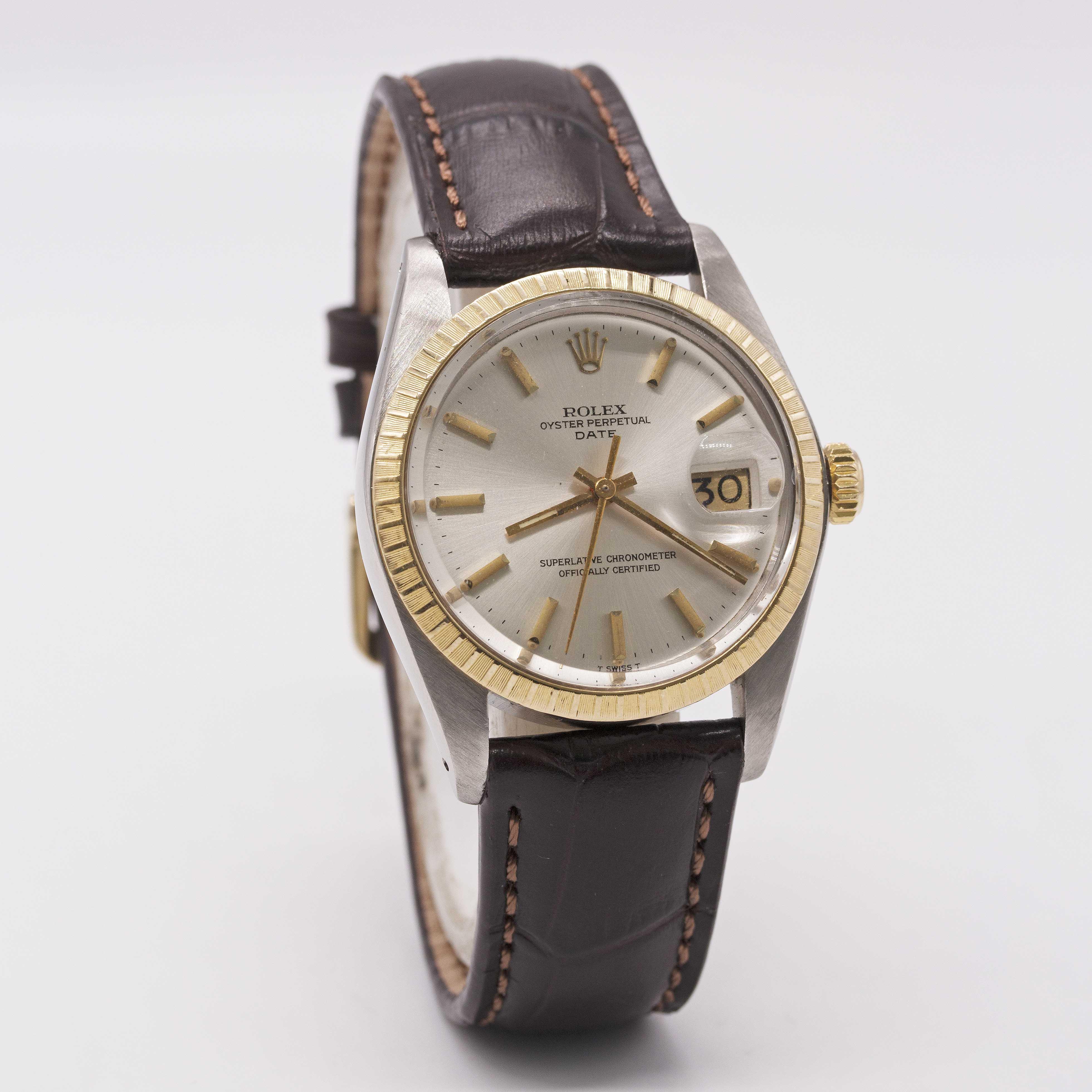 Lot 24 - A GENTLEMAN'S STEEL & GOLD ROLEX OYSTER PERPETUAL DATE WRIST WATCH CIRCA 1980, REF. 1505 Movement: