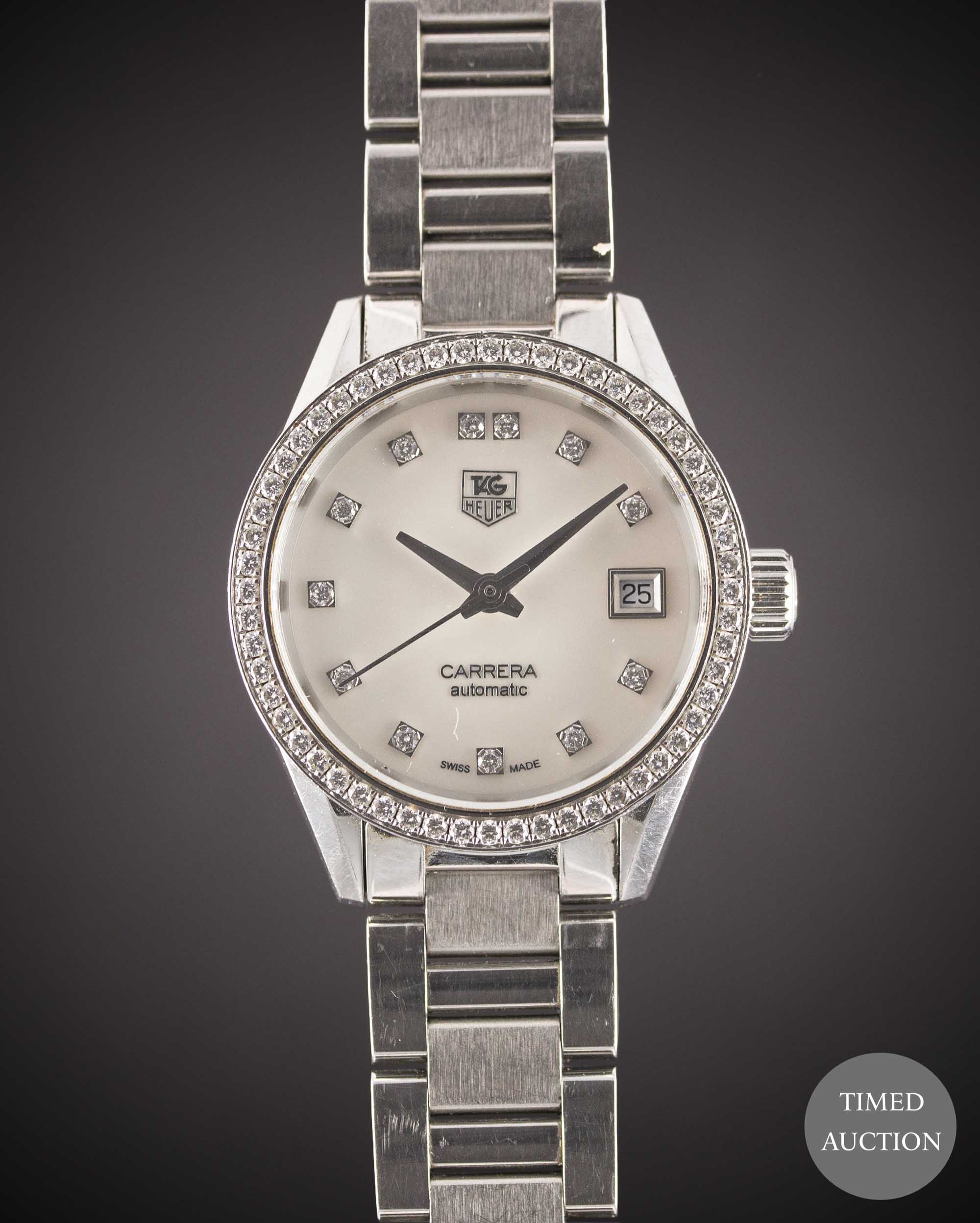 Lot 35 - A LADIES STAINLESS STEEL & DIAMOND TAG HEUER CARRERA CALIBRE 9 AUTOMATIC BRACELET WATCH CIRCA