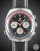 "A GENTLEMAN'S NIVADA GMT ""COKE"" CHRONOGRAPH WRIST WATCH CIRCA 1970, REF. 5750 Movement:17J,"
