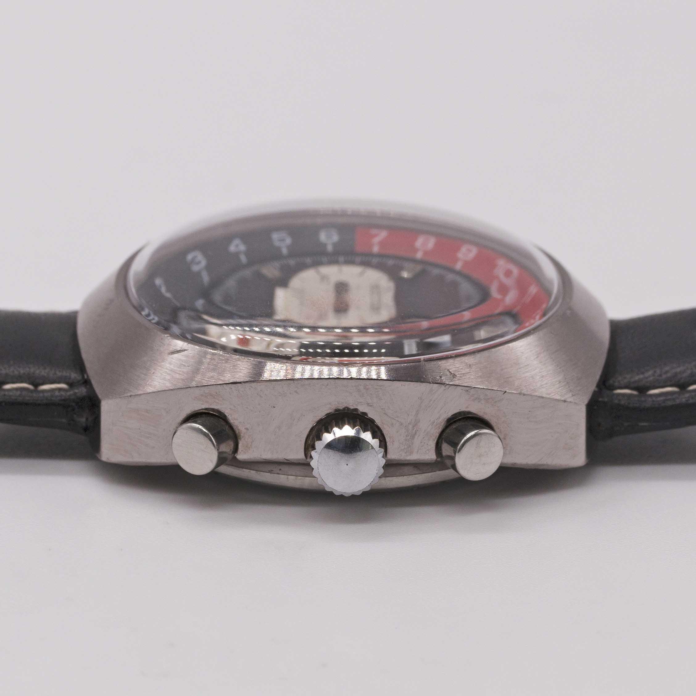 "Lot 2 - A GENTLEMAN'S NIVADA GMT ""COKE"" CHRONOGRAPH WRIST WATCH CIRCA 1970, REF. 5750 Movement:17J,"