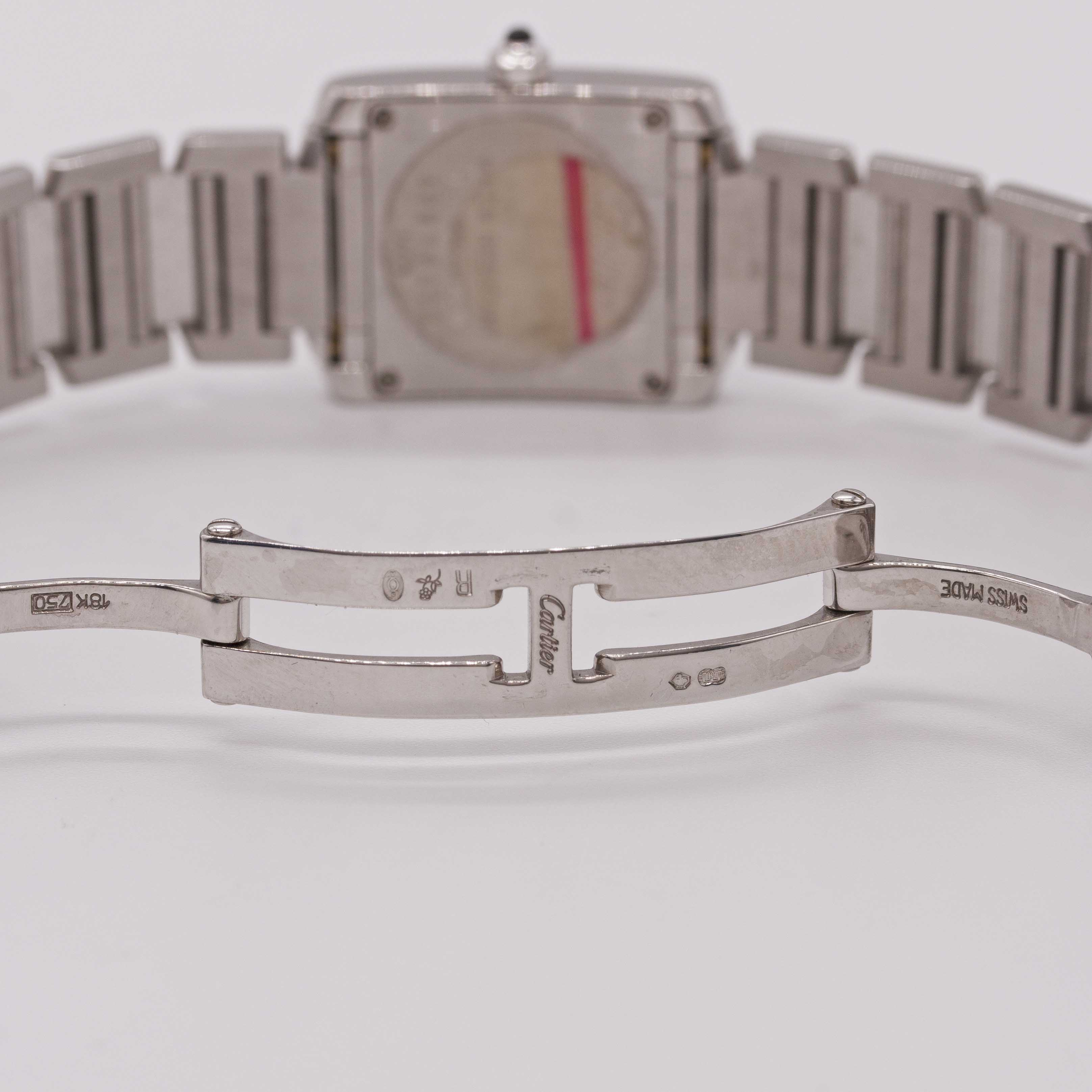 Lot 11 - A LADIES 18K SOLID WHITE GOLD & DIAMOND CARTIER TANK FRANCAISE BRACELET WATCH CIRCA 2005, REF.
