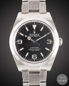 A GENTLEMAN'S STAINLESS STEEL ROLEX OYSTER PERPETUAL EXPLORER BRACELET WATCH DATED 2018, REF. 214270