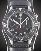 "A GENTLEMAN'S STAINLESS STEEL GERMAN MILITARY HEUER ""BUND"" FLYBACK CHRONOGRAPH WRIST WATCH CIRCA"