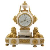 A RARE LOUIS XVI ORMOLU & WHITE MARBLE STRIKING MANTEL CLOCK WITH CALENDAR DIAL BY LEPINE, NO.