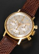 A FINE GENTLEMAN'S 18K SOLID YELLOW GOLD OMEGA SEAMASTER CHRONOGRAPH WRIST WATCH CIRCA 1965, REF.