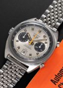 A GENTLEMAN'S STAINLESS STEEL HEUER CARRERA AUTOMATIC CHRONOGRAPH BRACELET WATCH DATED 1971, REF.