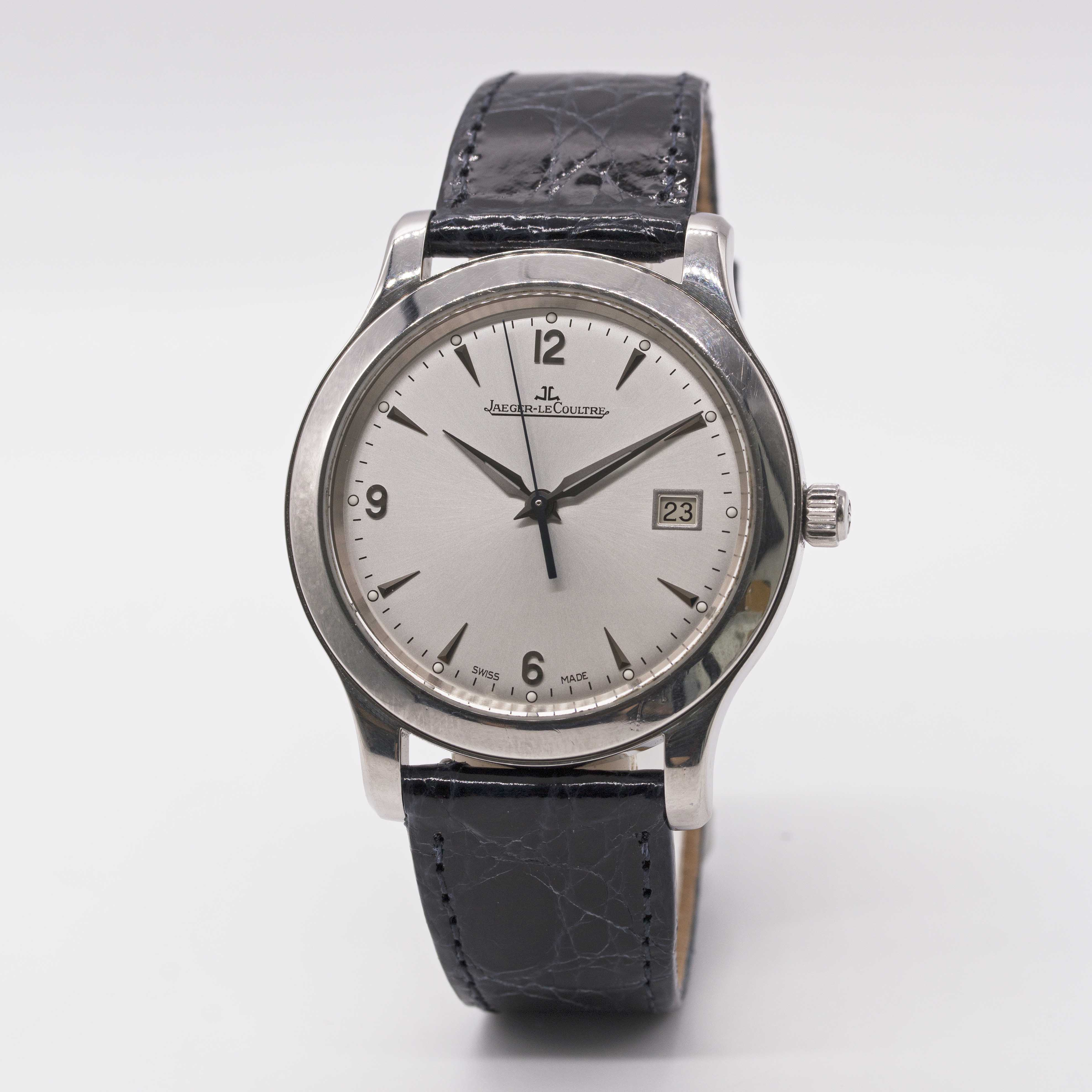 Lot 22 - A GENTLEMAN'S LARGE SIZE STAINLESS STEEL JAEGER LECOULTRE MASTER CONTROL DATE 1000 HOURS WRIST WATCH