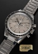 A POSSIBLY UNIQUE GENTLEMAN'S STAINLESS STEEL OMEGA SPEEDMASTER CHRONOGRAPH BRACELET WATCH CIRCA