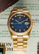 A RARE GENTLEMAN'S 18K SOLID YELLOW GOLD ROLEX OYSTER PERPETUAL DAY DATE PRESIDENT BRACELET WATCH