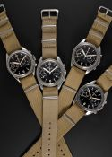 "A COMPLETE SET OF GENTLEMAN'S STAINLESS STEEL BRITISH MILITARY ""FAB FOUR"" RAF PILOTS CHRONOGRAPH"