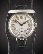 A GENTLEMAN'S SOLID SILVER ROLEX FULL HUNTER OFFICERS TRENCH WRIST WATCH CIRCA 1916, WHITE ENAMEL