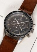 """A RARE GENTLEMAN'S STAINLESS STEEL OMEGA SPEEDMASTER """"ED WHITE"""" CHRONOGRAPH WRIST WATCH DATED"""