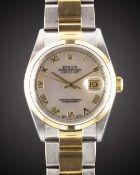 A GENTLEMAN'S SIZE STEEL & GOLD ROLEX OYSTER PERPETUAL DATEJUST BRACELET WATCH CIRCA 2001, REF.