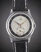 """A RARE GENTLEMAN'S LARGE SIZE STAINLESS STEEL OMEGA WRISTWATCH CIRCA 1939, WITH SILVER & BLACK """""""