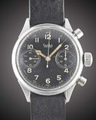A GENTLEMAN'S GERMAN MILITARY HANHART LUFTWAFFE PILOTS FLYBACK CHRONOGRAPH WRIST WATCH CIRCA 1940s