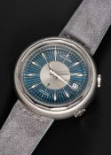 A RARE GENTLEMAN'S STAINLESS STEEL JAEGER LECOULTRE MEMOVOX SNOWDROP SPEED BEAT AUTOMATIC ALARM