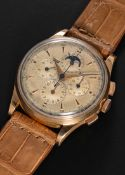 A RARE GENTLEMAN'S LARGE SIZE 18K SOLID ROSE GOLD UNIVERSAL GENEVE TRI COMPAX MOONPHASE TRIPLE