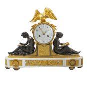 A RARE LOUIS XVI ORMOLU, BRONZE & WHITE MARBLE STRIKING MANTEL CLOCK WITH CALENDAR DIAL CIRCA EARLY