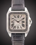 A STAINLESS STEEL CARTIER SANTOS 100 34MM AUTOMATIC WRIST WATCH DATED 2010, REF. 2878 WITH