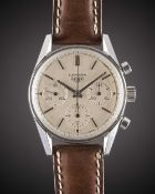 A GENTLEMAN'S STAINLESS STEEL HEUER CARRERA CHRONOGRAPH WRIST WATCH CIRCA 1963, REF. 2447S WITH ""