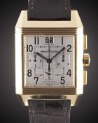 A GENTLEMAN'S 18K SOLID ROSE GOLD JAEGER LECOULTRE REVERSO SQUADRA 1000 HOURS AUTOMATIC
