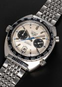 "A RARE GENTLEMAN'S STAINLESS STEEL HEUER AUTAVIA ""JO SIFFERT"" AUTOMATIC CHRONOGRAPH BRACELET WATCH"