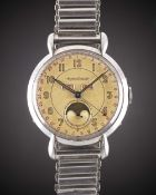 A RARE GENTLEMAN'S LARGE SIZE STAINLESS STEEL JAEGER LECOULTRE TRIPLE CALENDAR MOONPHASE BRACELET