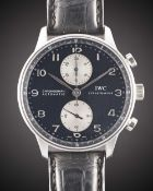 A GENTLEMAN'S STAINLESS STEEL IWC PORTUGUESE AUTOMATIC CHRONOGRAPH WRIST WATCH CIRCA 2006, REF.