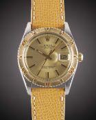 A GENTLEMAN'S STEEL & GOLD ROLEX OYSTER PERPETUAL DATEJUST TURNOGRAPH WRIST WATCH CIRCA 1977, REF.