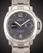 A GENTLEMAN'S TITANIUM & STAINLESS STEEL PANERAI LUMINOR MARINA BRACELET WATCH DATED 2003, REF.