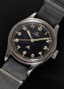 A RARE GENTLEMAN'S STAINLESS STEEL BRITISH MILITARY OMEGA RAF PILOTS WRIST WATCH DATED 1953, REF.