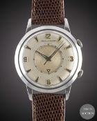 A GENTLEMAN'S STAINLESS STEEL JAEGER LECOULTRE MEMOVOX AUTOMATIC ALARM WRIST WATCH CIRCA 1960,