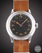 "A GENTLEMAN'S LANCO PILOTS WRIST WATCH CIRCA 1940s, BLACK DIAL WITH ""CATHEDRAL"" HANDS Movement: 15J,"
